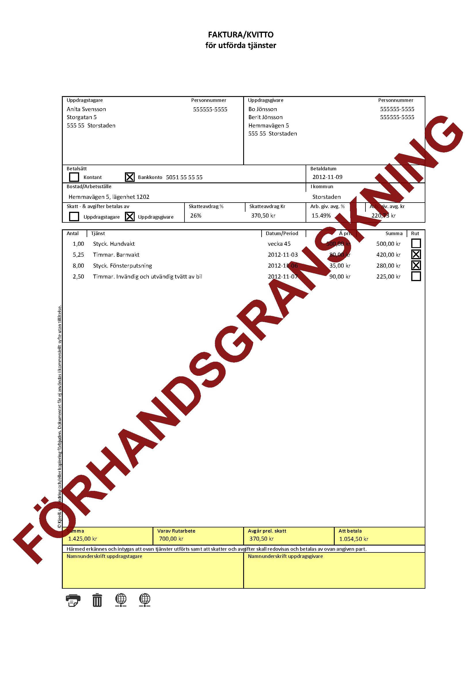 Faktura/Kvitto för hushållsnära tjänster