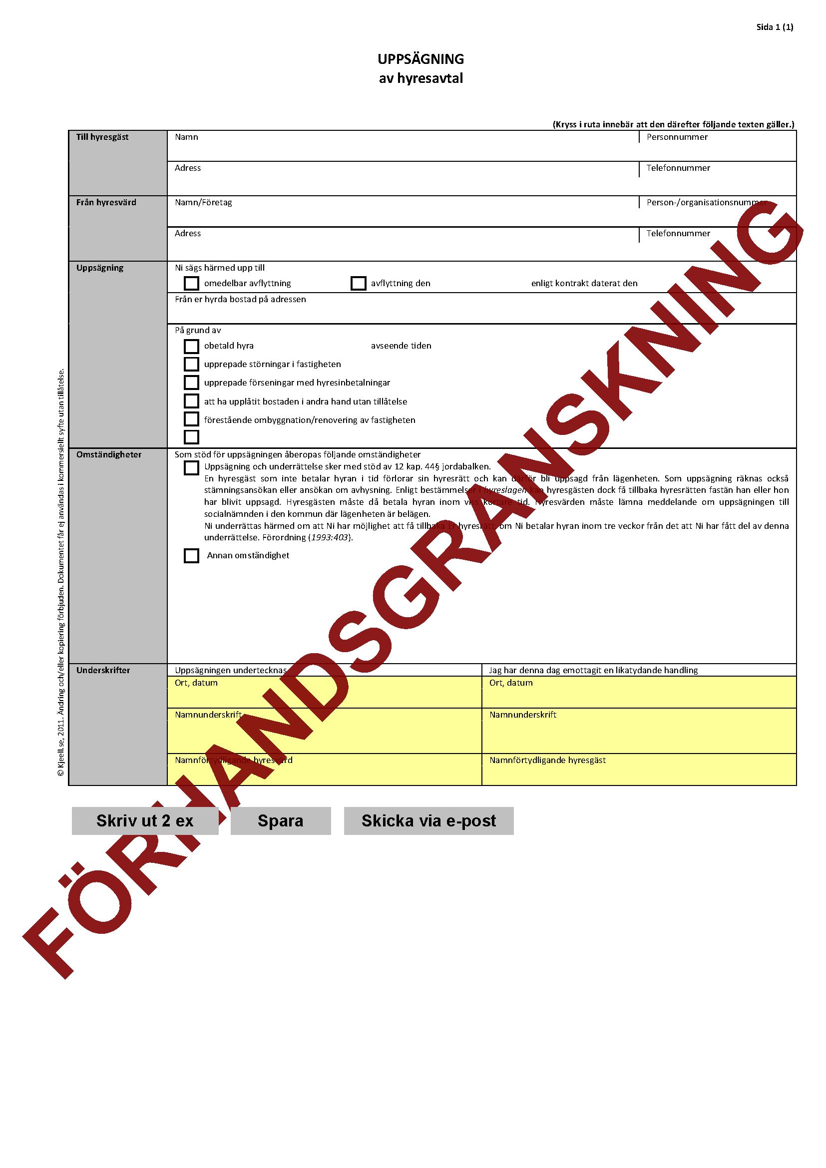 Uppsägning av hyresavtal bostad